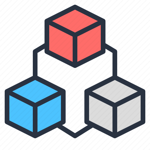 blockchain, business, cube, data, interconnected, it, network icon