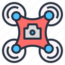 aerial, camera, drone, flying, technology, vehicle icon