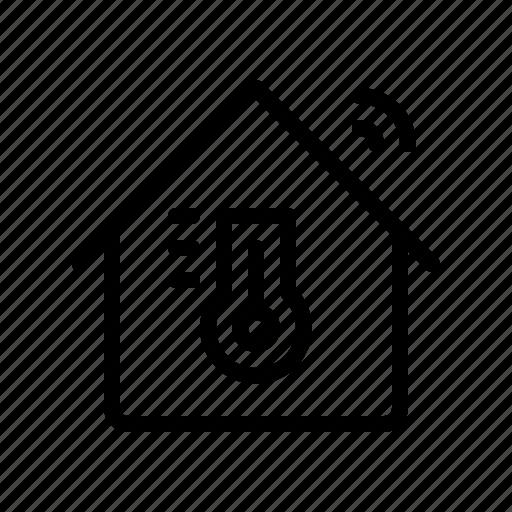 equipment, home, house, iot, smart, temperature, wifi icon