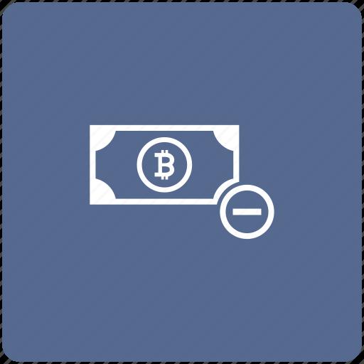 bitcoin, minus, money, operation, value icon