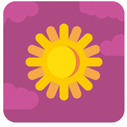 clouds, shine, sky, sun, weather icon