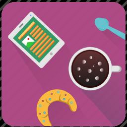 break, coffee, ipad, news, read icon