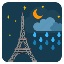 cloud, moon, night, paris, rain, sky icon