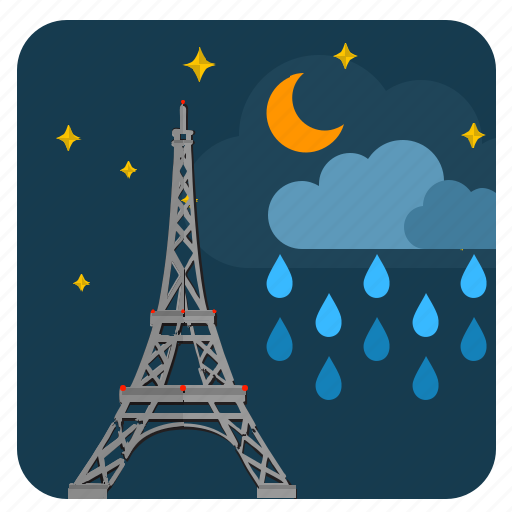 cloud, moon, night, paris, rain, sky icon