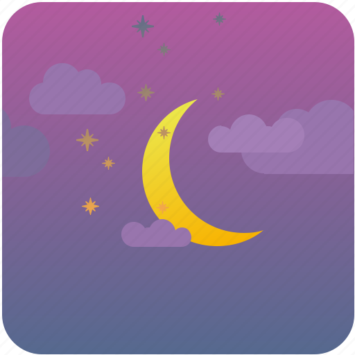 clouds, moon, night, sky, stars icon