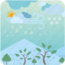 clouds, day, sky, snow, sun, winter icon
