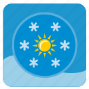 flakes, round, shine, snow, sun, weather, winter icon