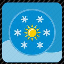 flakes, round, shine, snow, sun, weather, winter icon