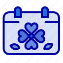 calendar, clover, day, leaf, patricks icon