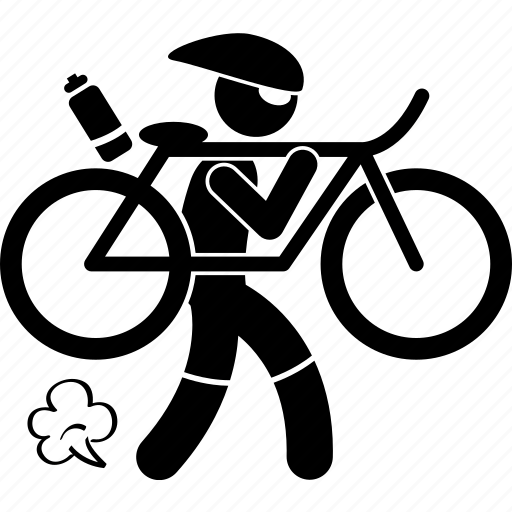bicycle, bike, carry, cyclist, iron, man, triathlon icon