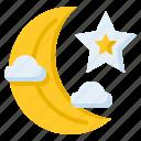half moon, moon, crescent, sky, night, cloud, nature