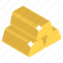 gold asset, gold bricks, gold reserves, gold stack, wealth icon