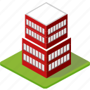 building, city, factory, house, isometric, town, village