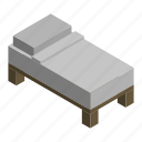 bed, furniture, interior, mattress, single, sleep, small icon