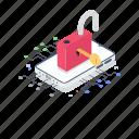 digital lock, electronic safety, encryption, padlock, security icon