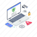 cybersecurity, internet security, laptop lock, online security, secure system icon