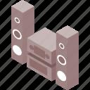 column, hi fi, isometric, isometry, sound icon