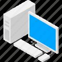 computer, desktop, isometric, isometry, pc icon