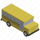 american, bus, kids, school, vehicle, yellow icon