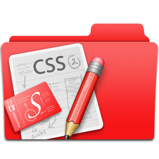 css, edit, folder, red, web design icon