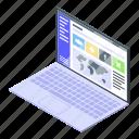 laptop, management, cartoon, it, isometric, music, flower icon