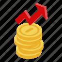 cartoon, coin, flower, grow, isometric, money, up icon