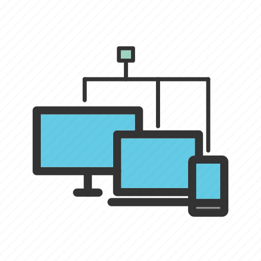 cloud, connected, devices, digital, mobile, tablet, technology icon
