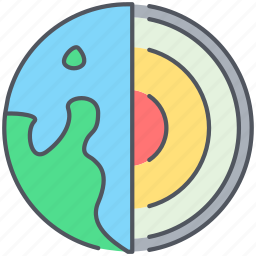 core, earth, geology, inner, lava, layers, science icon