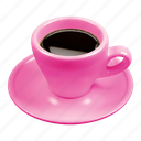 beverage, caffè, coffee, cup, espresso, pink icon