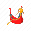 cartoon, design, gondolier, man, rowing, template, venice icon