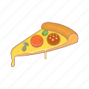 cartoon, dinner, fast, food, pepperoni, pizza, slice icon