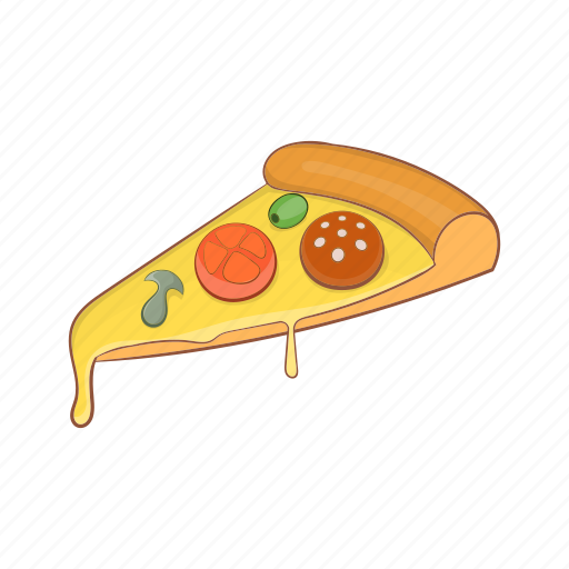 Cartoon, dinner, fast, food, pepperoni, pizza, slice icon - Download on Iconfinder