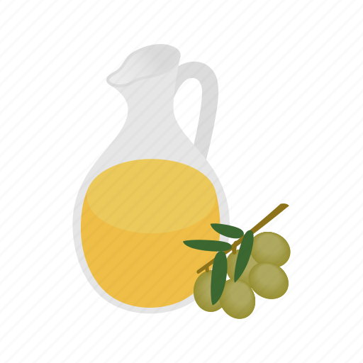 food, healthy, ingredient, isometric, mediterranean, oil, olive icon