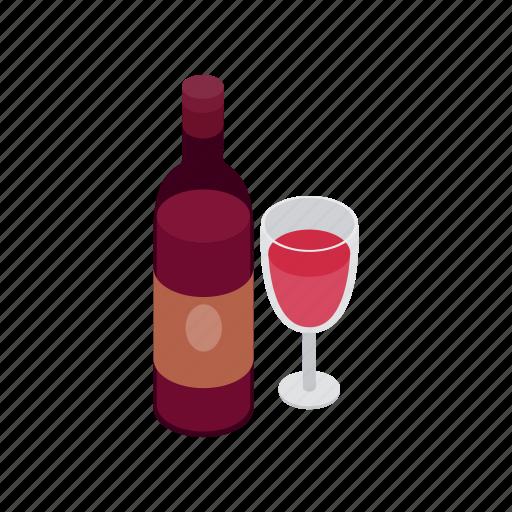 alcohol, celebration, drink, glass, isometric, wine, wineglass icon