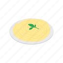 dinner, food, isometric, italian, pasta, plate, sauce icon