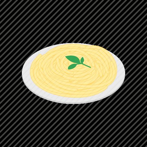 dinner, food, isometric, italian, pasta, plate, sauce icon