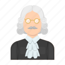 judge, justice, law, mantle, person, profession, wig icon