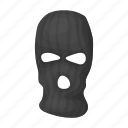 balaclava, burglar, criminal, disguise, mafia, mask, terrorist icon