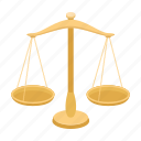 balance, court, decision, gold, judge, justice, scales icon