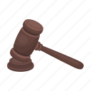 announcement, gavel, judge, justice, sentence, wooden icon