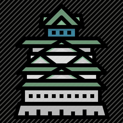 architecture, castle, japan, landmark, osaka icon
