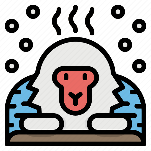 Animal, japan, macaques, monkey, snow icon - Download on Iconfinder