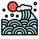 ecology, japan, ocean, sea, wave icon