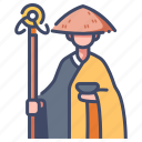 asia, buddhist, japanese, monk, religion, traditional, zen icon