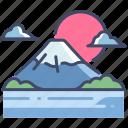 fuji, japan, japanese, lake, landscape, mountain, nature icon