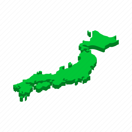 asia, geography, isometric, japan, japanese, map, vectior icon