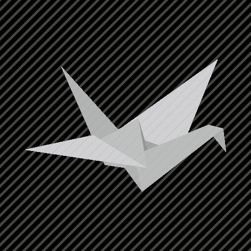 bird, dove, isometric, origami, paper, pigeon, vectior icon