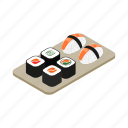 food, isometric, japanese, rice, roll, sushi, vectior icon