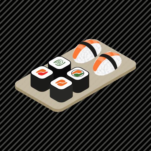 food, isometric, japanese, rice, roll, sushi, vectior icon
