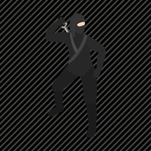 cloth, isometric, mail, masculine, person, shinobi, spy icon